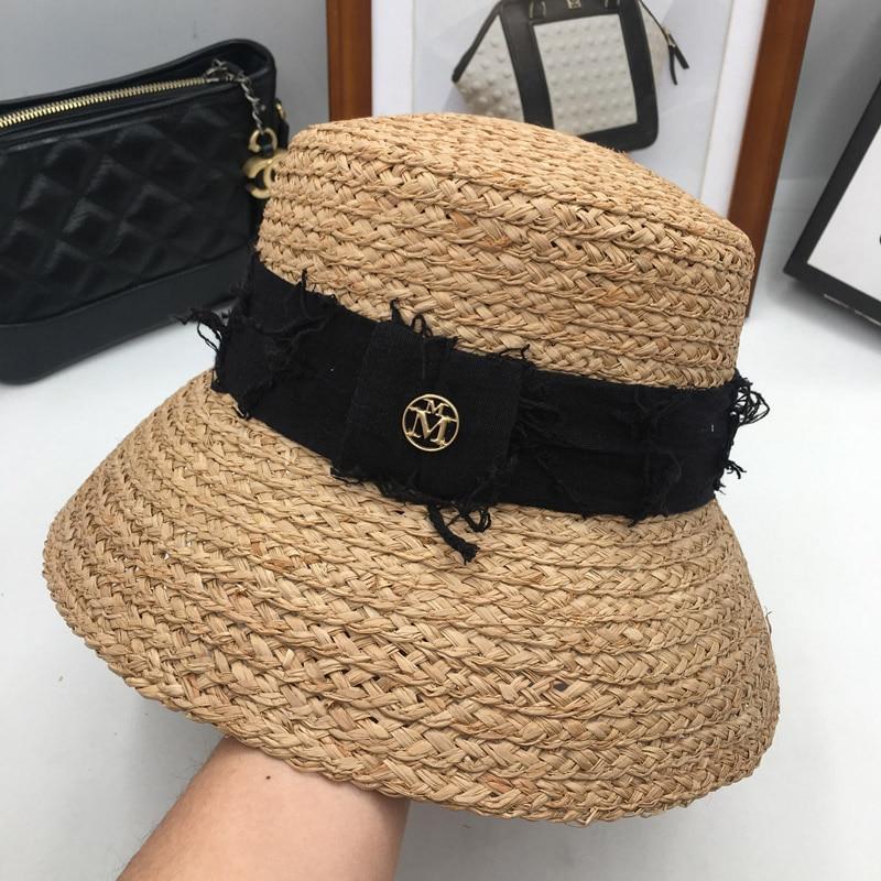 Sombrero de paja de hierba lafite de viento británico con forma de campana  para mujer verano vacaciones Playa Sol sombrero cubierto cara bask el  pescador ... 3820766ac21