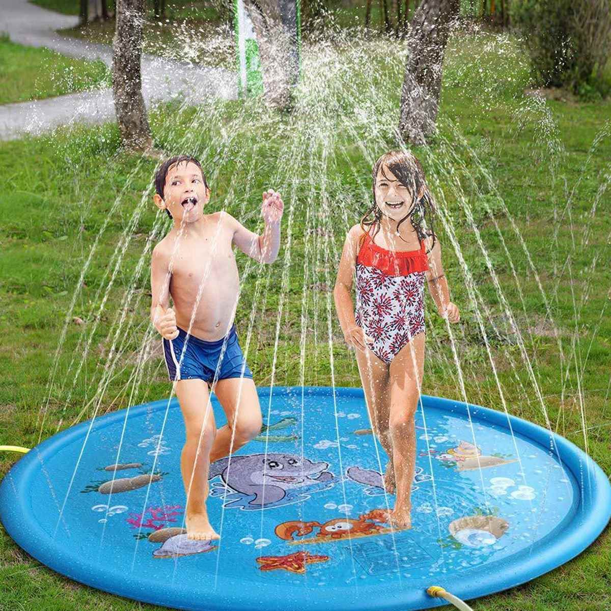 100cm Summer Kids Inflatable Round Water Splash Play Pool Playing Sprinkler Mat Yard Outdoor Fun Multicolour PVC Material