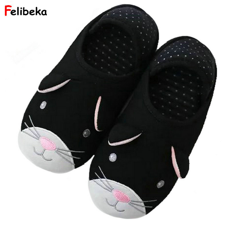 Cute Cat Animal Pattern Cotton Home Slippers Women Sandals Indoor Shoes For Bedroom House Spring Soft Bottom Flats home slippers soft plush cotton cute slippers shoes non slip floor indoor house home fur slippers women shoes for bedroom