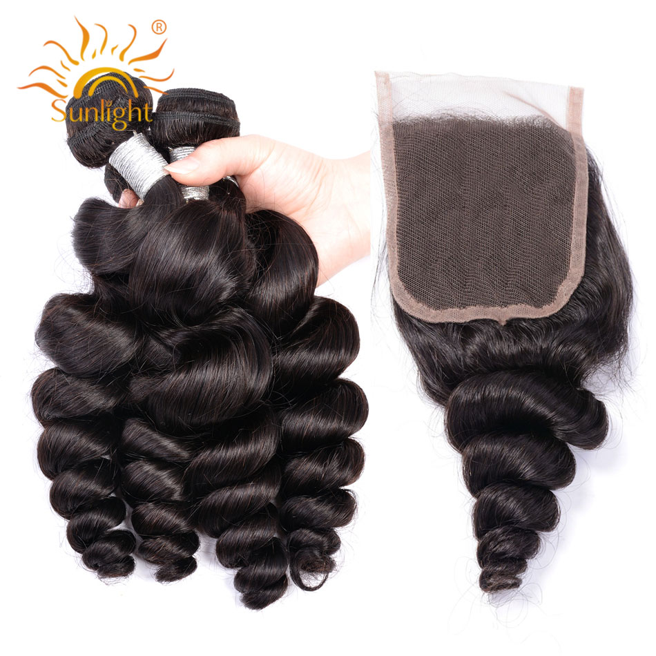 Sunlight Indian Loose Wave 3 Bundles With Closure 100 Human Hair Bundles Remy Hair Extension 4