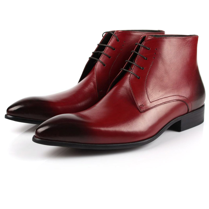 2017 Spring Autumn Winter fashion pointed toe men's boots genuine leather dress oxford brogue motorcycle snow boots freeshipping