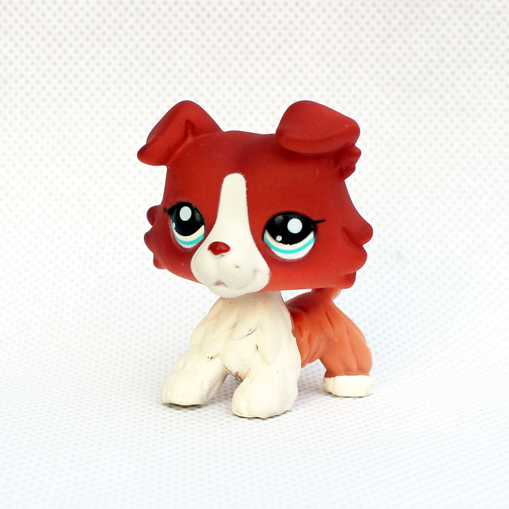 Pet Shop Toys Old Original Animal  Collie #1542 Brown White Puppy Dog Blue Eyes Real Rare Anime Figure Toys For Children