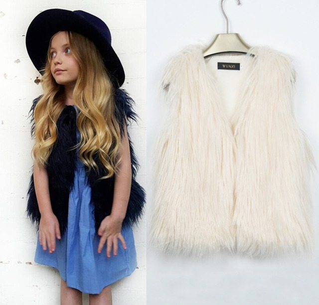76bce62656 2018 Europeus e Americanos tendência da moda faux fur colete casaco Meninas  quentes colete peludo T0529