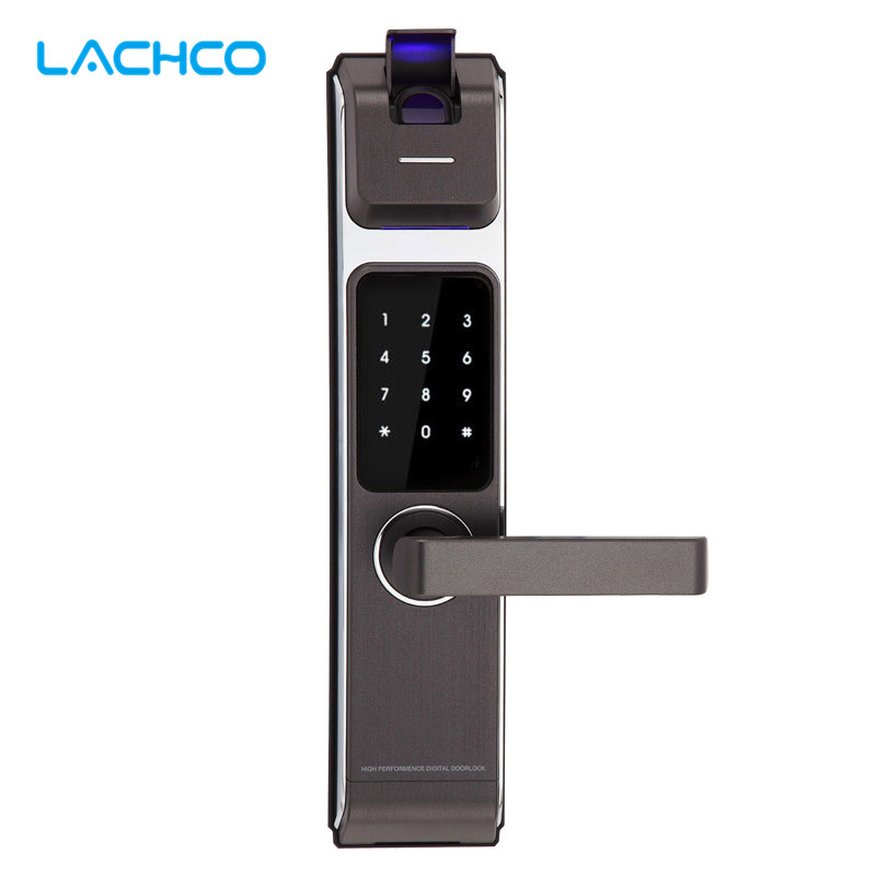 LACHCO 2017 New Arrival Biometric Smart Door Lock Digital Touch Screen Keyless Fingerprint+Password+RFID Card+Key 4ways L17014 2017 high security wireless electronic door lock biometric smart door lock digital touch screen keyless fingerprint door lock