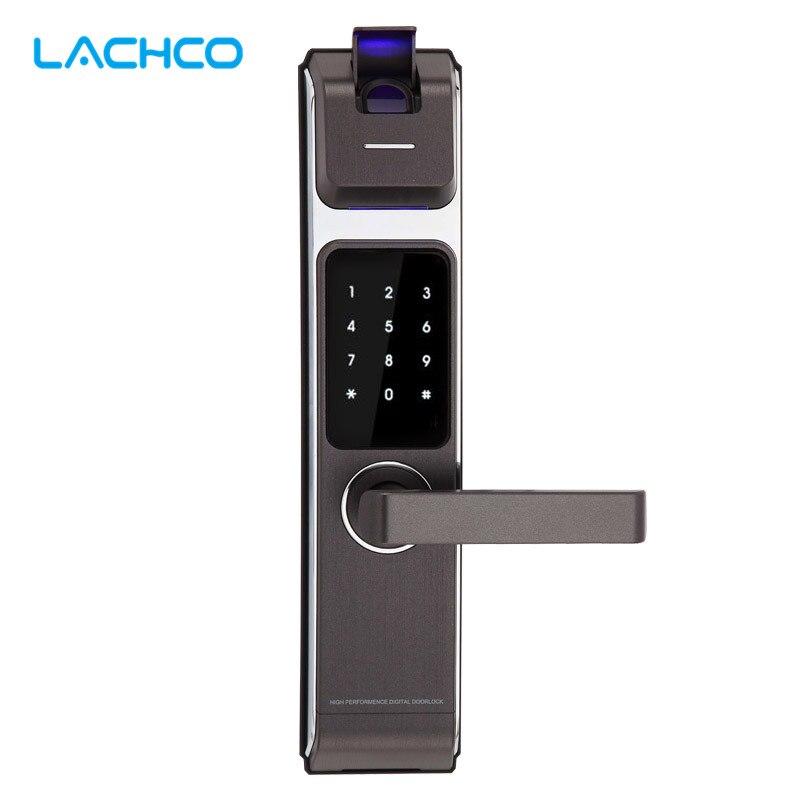LACHCO 2017 nouveauté biométrique serrure de porte intelligente numérique écran tactile sans clé empreinte digitale + mot de passe + carte RFID + clé 4 voies L17014