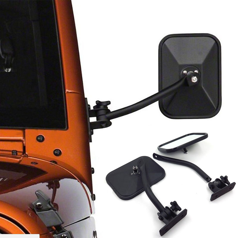 Car Side Door Rearview Mirror Adjustable Shape Angle Lens Blind Spot Exterior For Jeep Wrangler TJ JK 1997-2018 Car Styling car reversing auxiliary mirror car blind spot reversing rearview mirror support angle adjustment