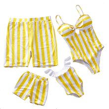 Striped Mother Daughter Swimwear One-Piece Mommy and Me Swimsuit Family Look Matching Outfits Mom Mum Dresses Clothes