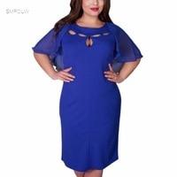 SMFOLW 6XL 5XL Chiffon Patchwork Women Dress 2017 Autumn Style Plus Size Office Big Large Size