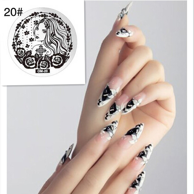 Rose Grass 1pcs Sweet Girl Rose Diy Nail Art Stamping Plate Template