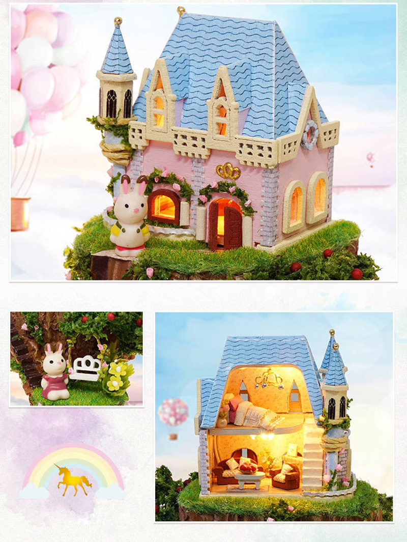 DIY Dollhouse Rotate Music Box Miniature Assemble Kits Doll House With Furnitures Wooden House Toys for Children Birthday Gift (11)