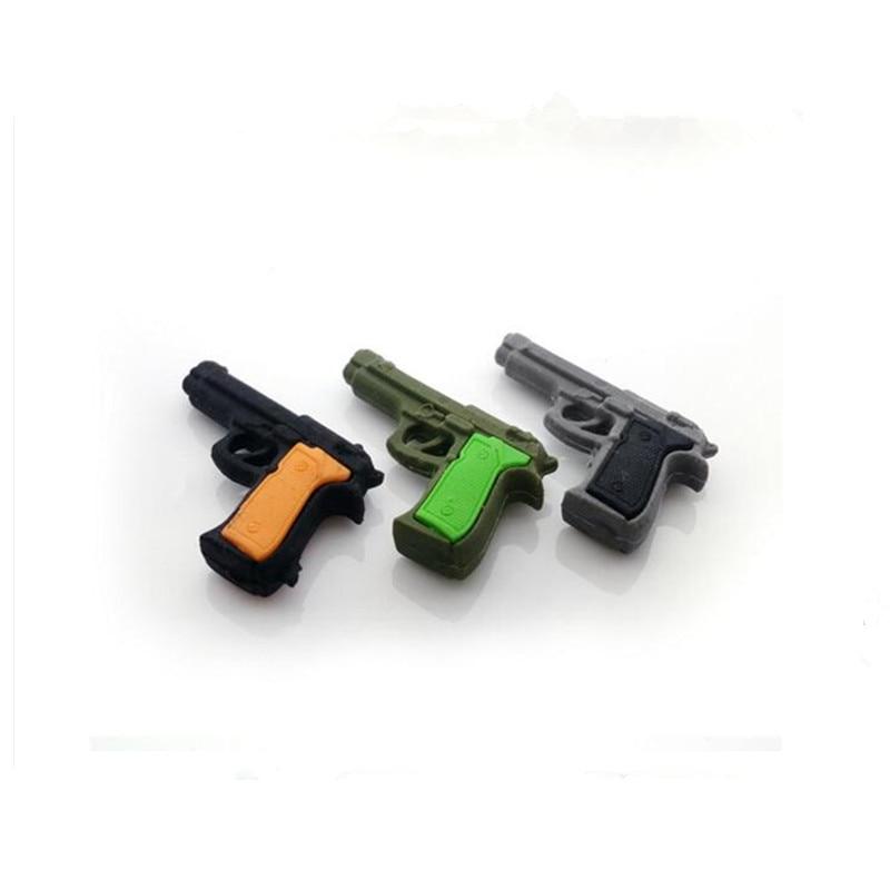 3 PCS Random Color Creative Pistol Shape Removable Eraser Kawaii Stationery Office And School Correction Supplies