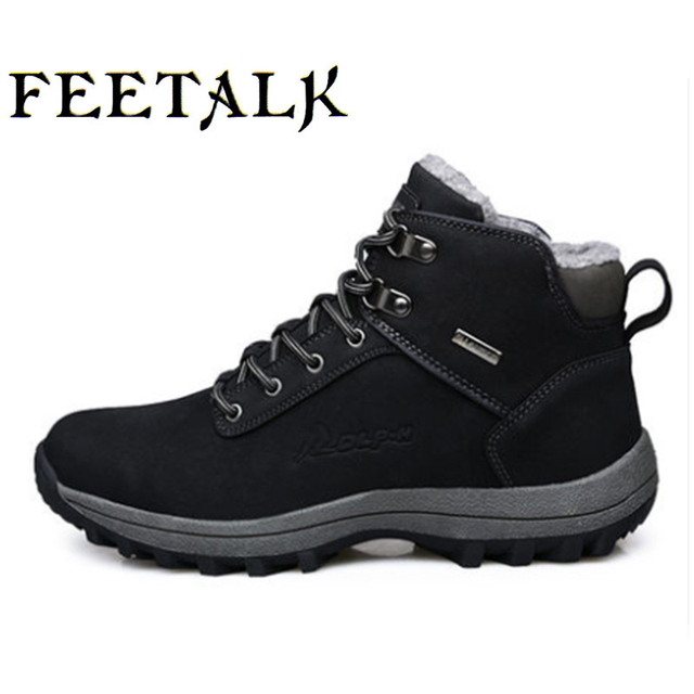 Winter Snow Boots Men Outdoor Warm Hiking Shoes Leather Boots