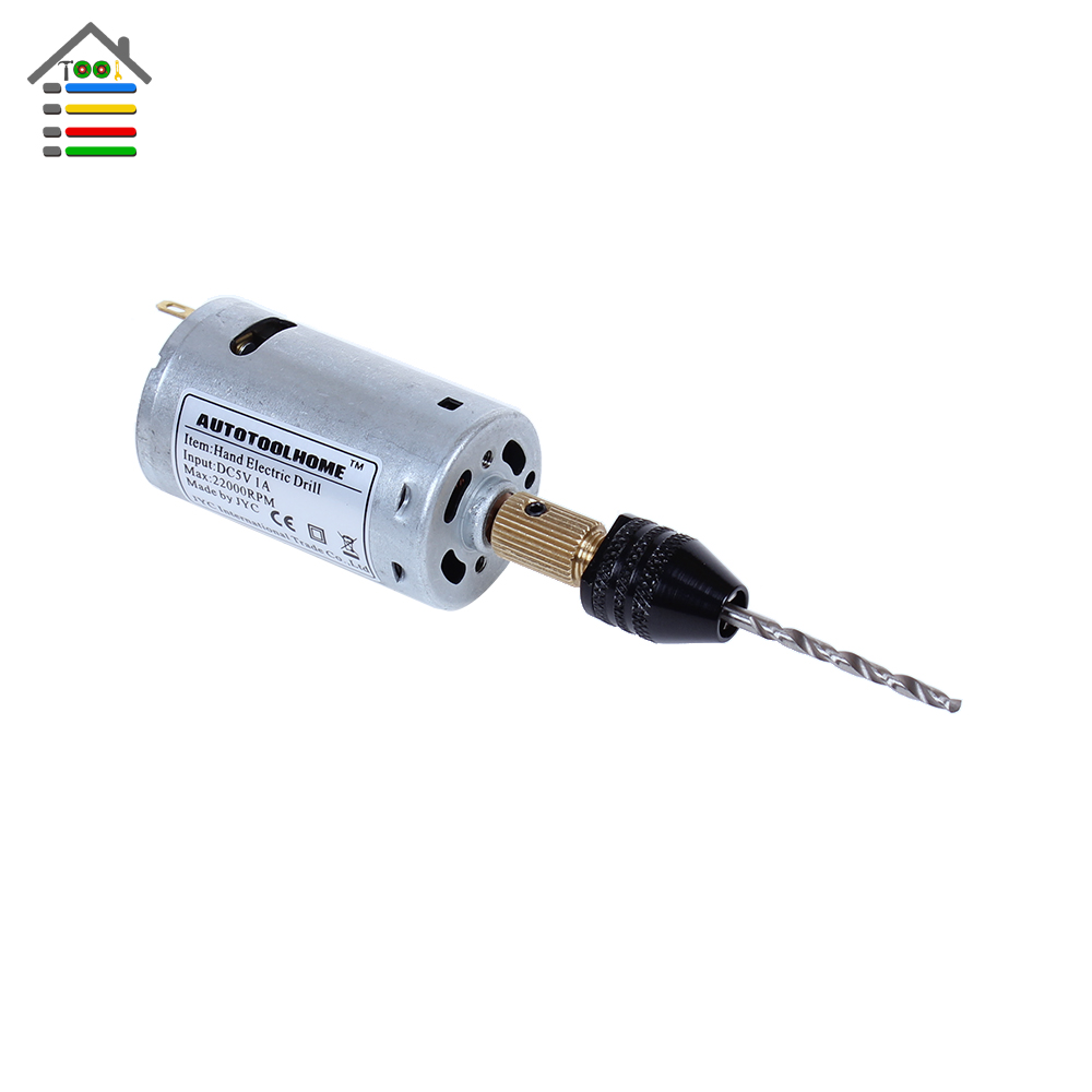 Mini Motor Hand Drill DC 12V 1A Electric Drill 0.3-3.2mm Keyless Drill Chuck Collet & Twist Drill Bits Set fit PCB Wood Hole Saw