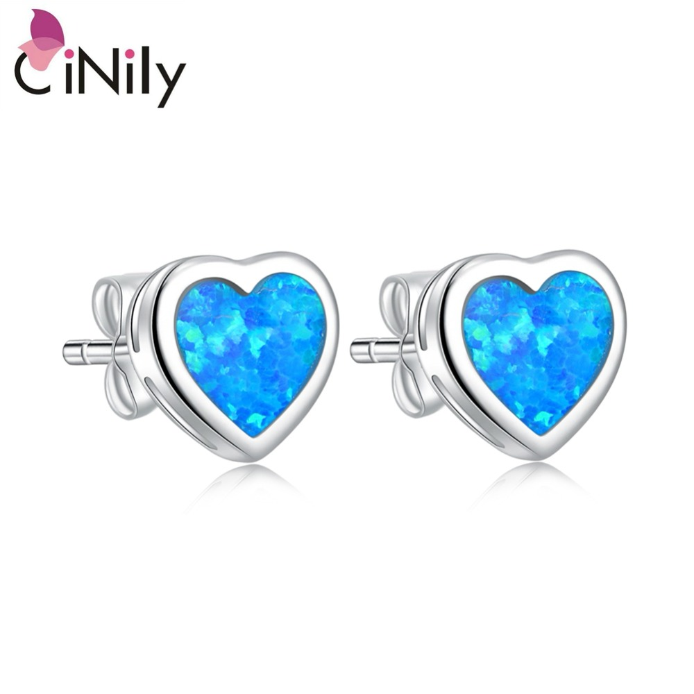 Cinily azul & laranja & branco fogo opala pedra doce amor brincos de prata banhado a coração brinco coreano jóias menina casal
