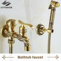 Antique Brass Dragon Style Wall Mounted Bathroom Bidet Faucet W Bidet Faucet Tap Mixer