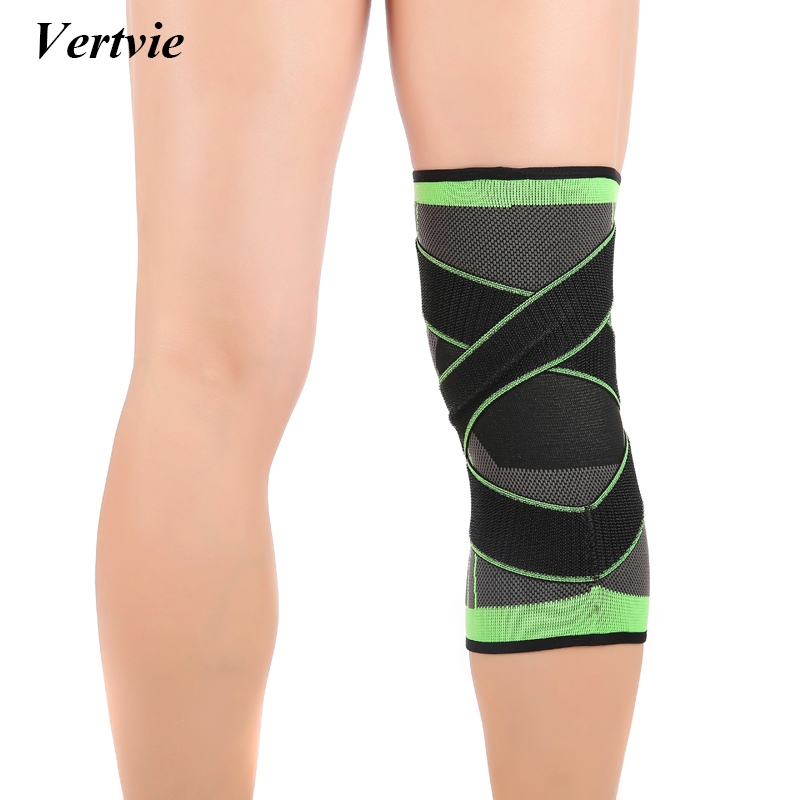 Vertvie Professional Knee Support Pads Pressurized Bandage Knee Protector Sport Support Knee Brace Wrap Guard Fitness Basketball