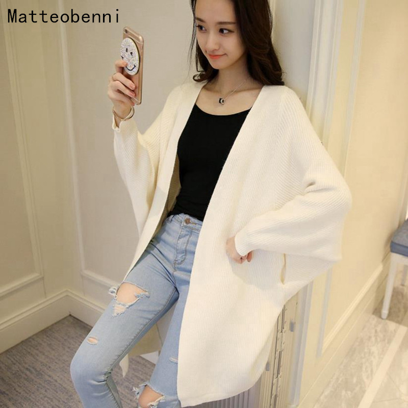 2018 Bat sleeve Casual Long Knitted Cardigan Autumn Winter Korean Women Loose Solid Pocket Design Sweater Jacket Yellow jumper