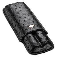 Cigar case portable cow leather ostrich skin cigar moisturizing case cigar holster can store 2 sticks CF-0305