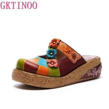 GKTINOO Flower Slippers Genuine Leather Shoes Handmade Slides Flip Flop On The Platform Clogs For Women Woman Slippers Plus Size(China)