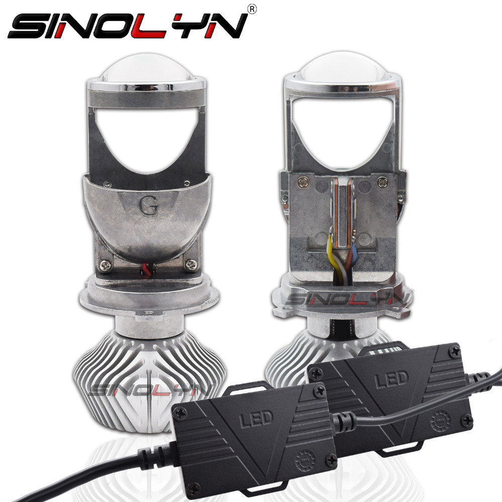 SINOLYN H4 Mini Bi-LED Projector 1.5 inch Headlight Lens 60W 5500K For Headlamp Retrofit DIY Car Styling High Low Lights LHD RHD
