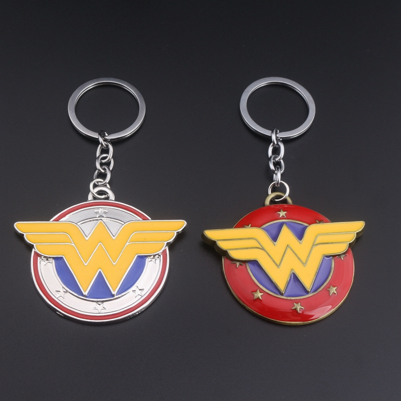 Superhero Wonder Woman Keychain Chaveiro Keyring Wonder Woman W Logo Metal Key Ring Key Holder Llavero