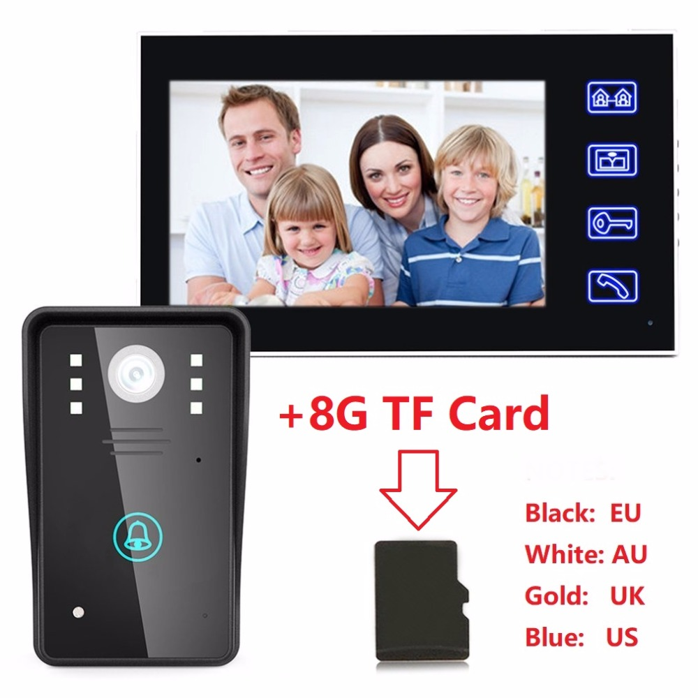 High-performance Recording Video Door Phone Intercom Doorbell+8GTF Card Touch Button Remote Unlock Night Vision Security Camera
