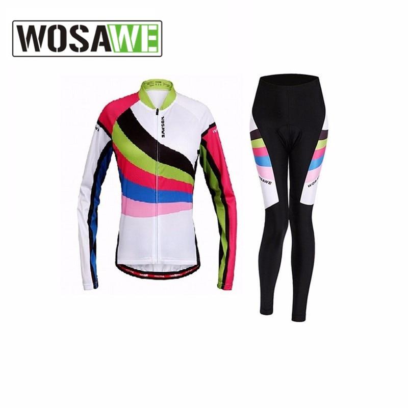 ФОТО Wosawe Cycling Jersey Set Clothing Long Sleeve Shirt Breathable Bicycle Clothes Hiking Running Racing Bike Jersey Padded Pants