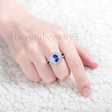Luxury Natural Tanzanite Men's Ring Real 18K White Gold Fine Jewelry For Wedding Gift  WU202