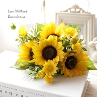 High Simulation Sunflower Flower Wedding Home Party Garden Decoration Bouquet Bridal Bouquet Wreath Handwear A Bunch