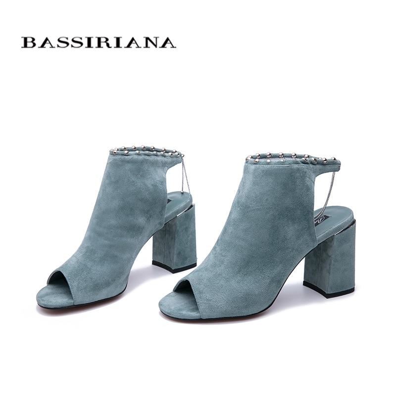 BASSIRIANA 2019 nouveau véritable daim talons hauts chaussures femme bureau robe gladiateur sandales femmes sans lacet été taille 35 40-in Sandales femme from Chaussures    3