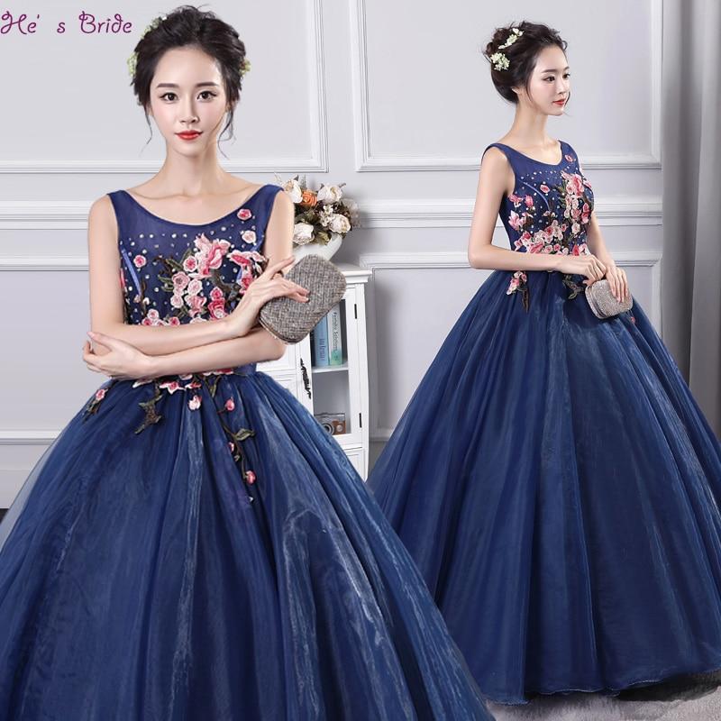 2017 Neue Ankunft Dark Blue Scoop Bodenlangen Ballkleid Vesta De Festa Moderne Elegante Abendkleid Abendkleid Robe De Soiree Starke Verpackung