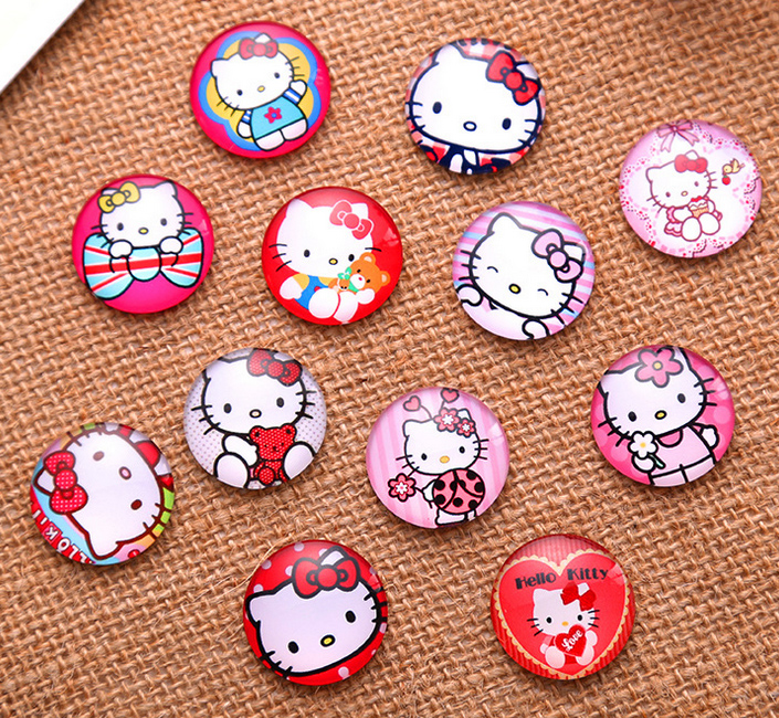 10/12/14/16/20/30mm Cartoon Cat Round Handmade Photo Glass Diy Cabochons & Glass Dome Cover Pendant Cameo Settings Harf Beads