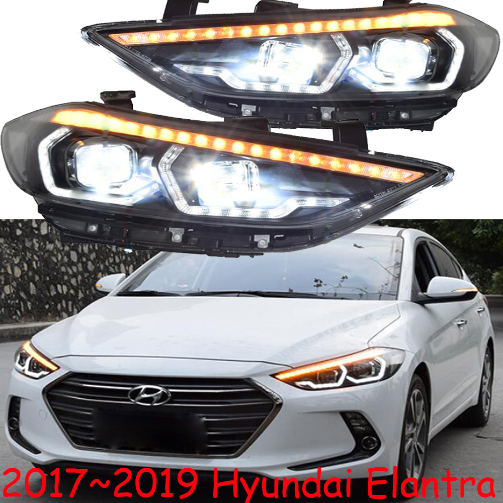 One set Car Styling for Hyundai Elantra Headlights 2017 2018 DRL Elantra LED Headlight DRL Bi Xenon Lens High Low BeamCar Light Assembly   -