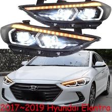 One set Car Styling for Hyundai Elantra Headlights 2017 2018 DRL Elantra LED Headlight DRL Bi Xenon Lens High Low Beam
