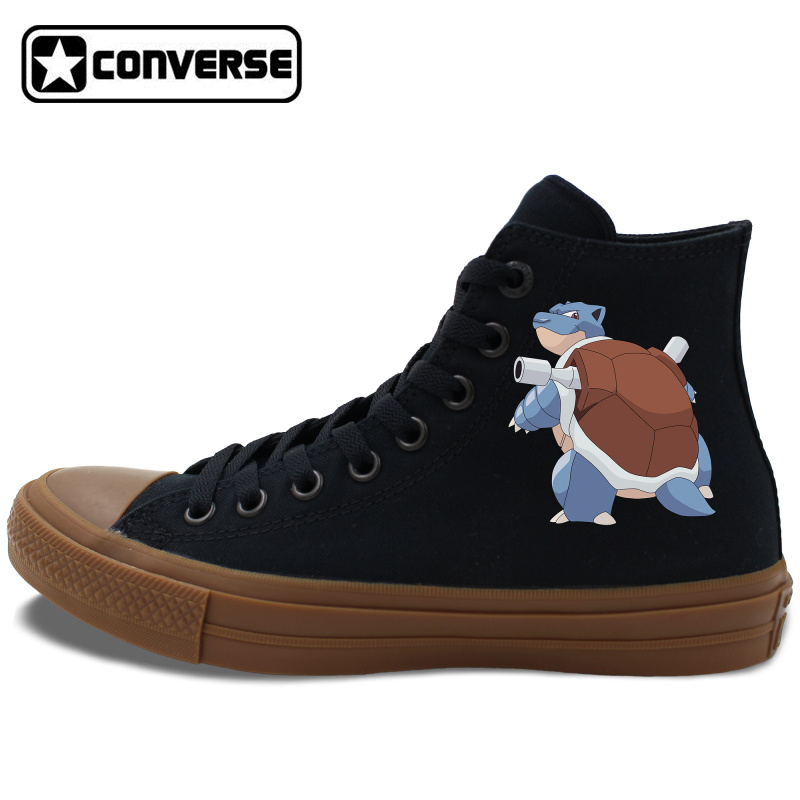 f57415b1b33231 2 Colors White Black Converse Chuck Taylor II Skateboarding Shoes Pokemon  Blastoise Anime High Top Canvas