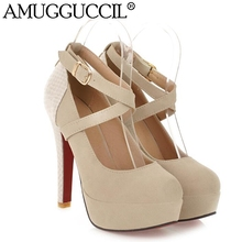 2017 New Plus Big Size 32 42 Apricot Black Beige Buckle Fashion Sexy High Heel Platform
