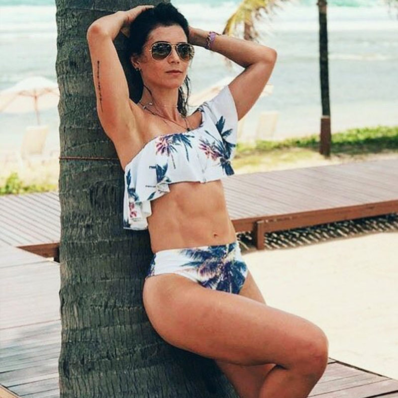 2018 Sexy One Off Shoulder Bikinis Women Swimsuit Print Ruffle Swimwear Bikini Set High Waist Swimming Suit Beach Wear Bathing
