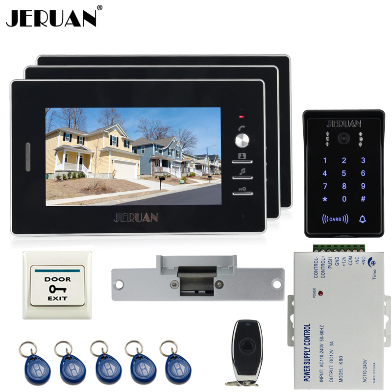 JERUAN Home 7`` video door phone intercom system Kit RFID waterproof touch key password keypad camera +remote control In stock jeruan new 7 video intercom entry door phone system 1monitor 700tvl touch key waterproof rfid access camera remote control