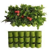 18 Pockets Hanging Flower Pot Polyester Wall mounted Vertical Gardening Flower Pot Planting Bag Living Indoor Wall Planter