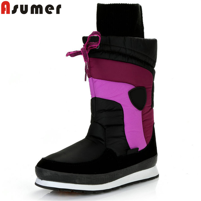 цена на ASUMER 2018 fashion mid calf boots women round toe winter snow boots keep warm casual comfortable ladies boots plush flat with