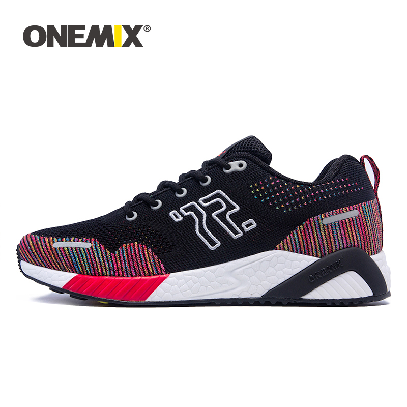 ONEMIX Men Running Shoes Colorful Knitted Vamp Sneakers Memory Damping Soft Outsole Dispel Moisture Deodorant Insole Running