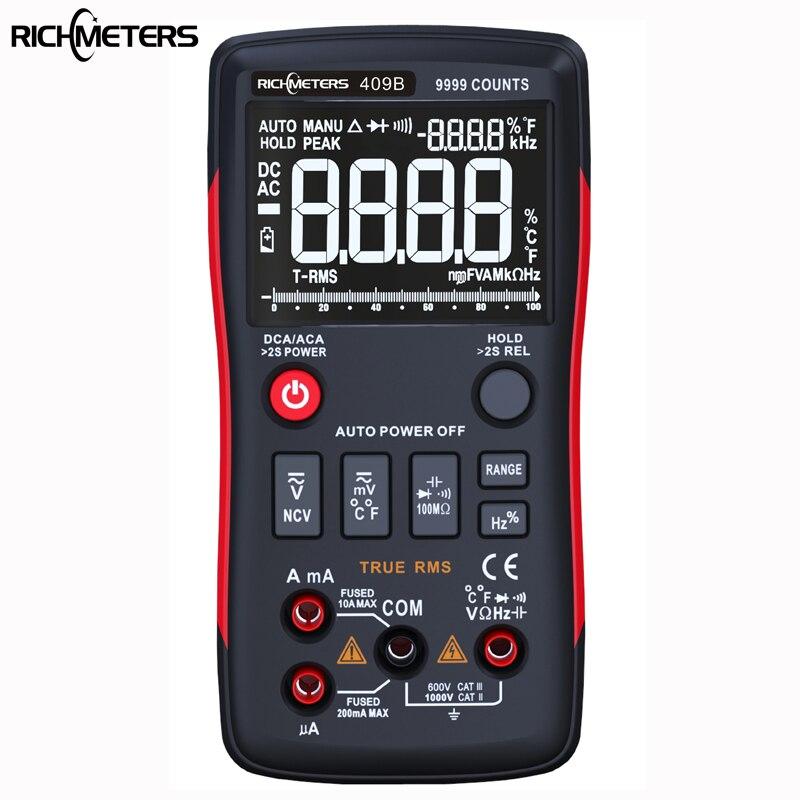 RICHMETERS RM409B True-RMS Multimetro Digitale 9999 Conta Con Grafico a Barre Analogico AC/DC Tensione Amperometro Corrente ohm