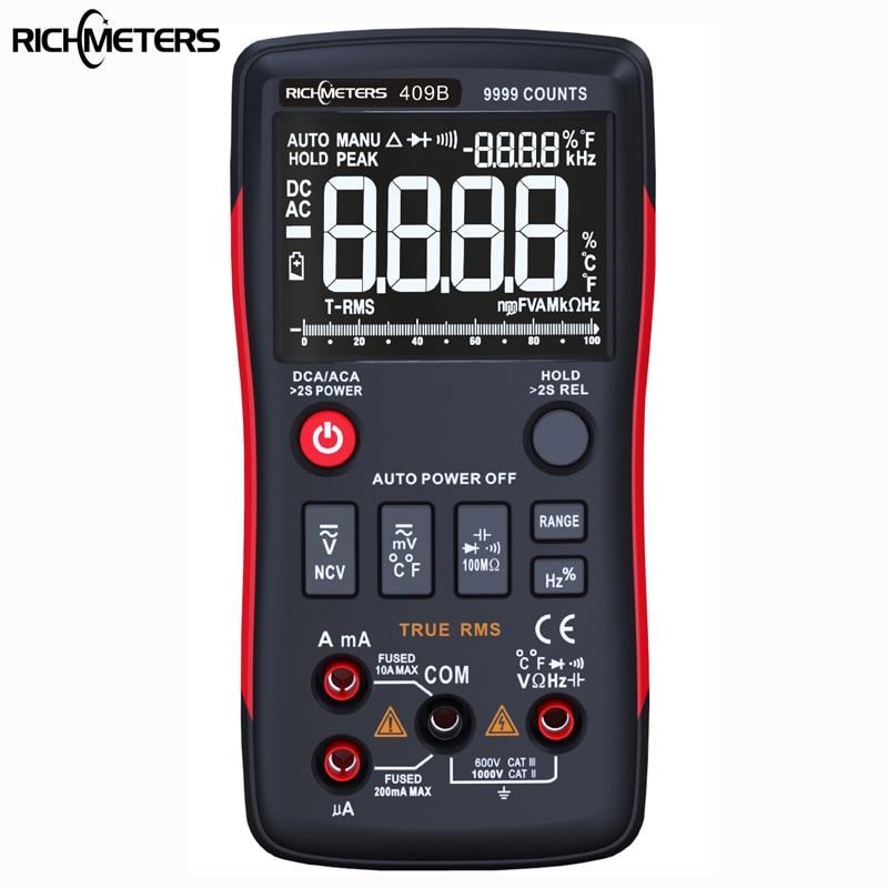Botão RICHMETERS RM409B-True RMS Multímetro Digital 9999 Counts Com Gráfico de Barras Analógico AC/DC Amperímetro Tensão Atual ohm