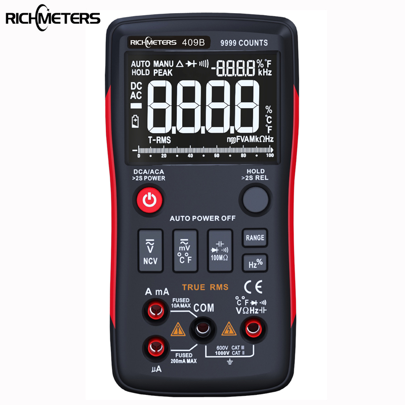 RICHMETERS RM409B True-RMS Digital Multimeter Button 9999 Counts With Analog Bar Graph AC/DC Voltage Ammeter Current Ohm