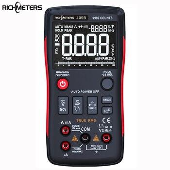 Richmeters rm409b true-rms 디지털 멀티 미터 버튼 아날로그 바 그래프로 9999 카운트 ac/dc 전압 전류계 전류 옴