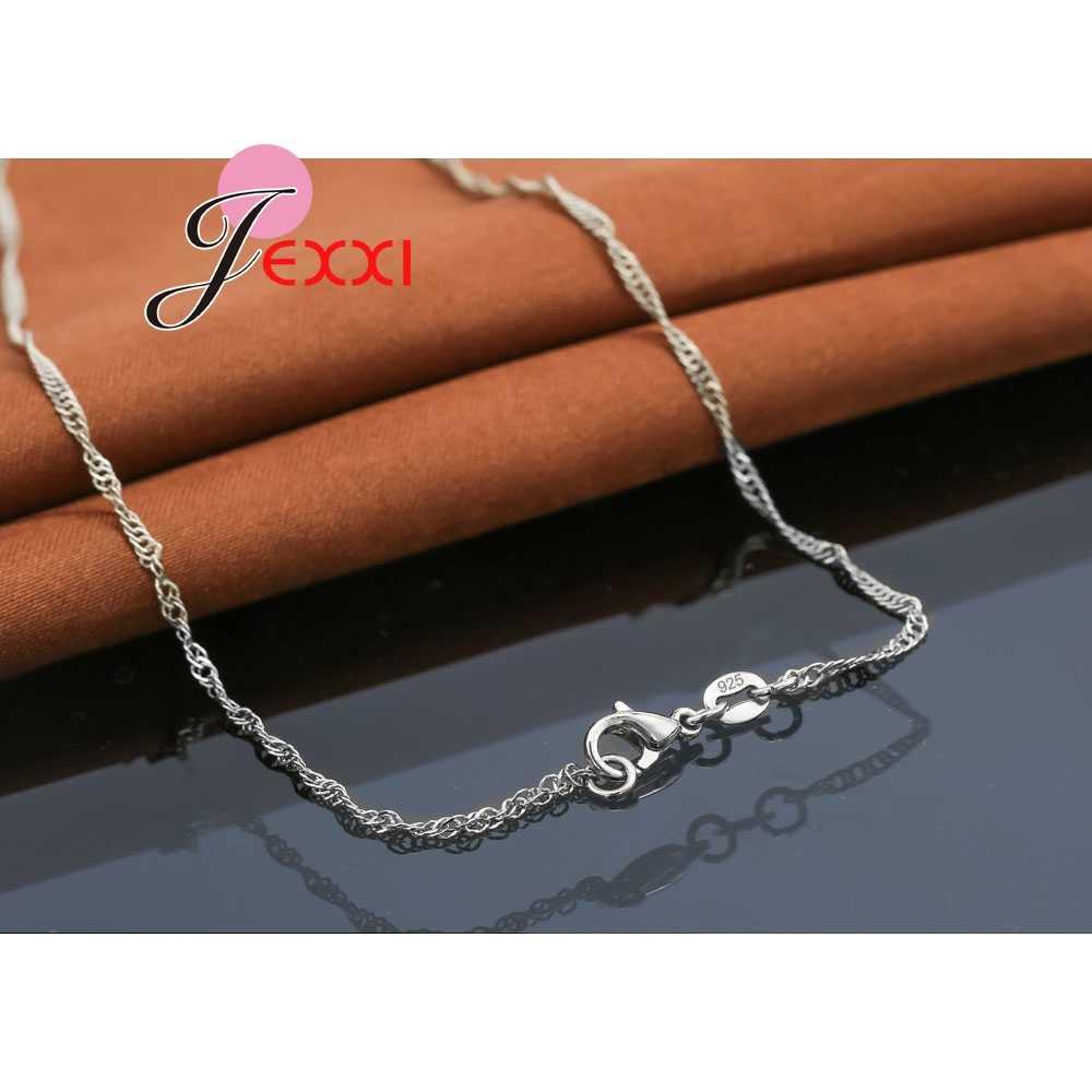 Elegante Mode 925 Sterling Silber Kette Doppel Perlen Halskette Zirkonia Kristall Halsketten für Frauen Mädchen Hochzeit Schmuck