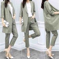 Spring Suit 2018 New Women Two piece Cotton and linen Suit Jacket Nine Pants Casual Fashion Workplace Executive Suit Ladies D208