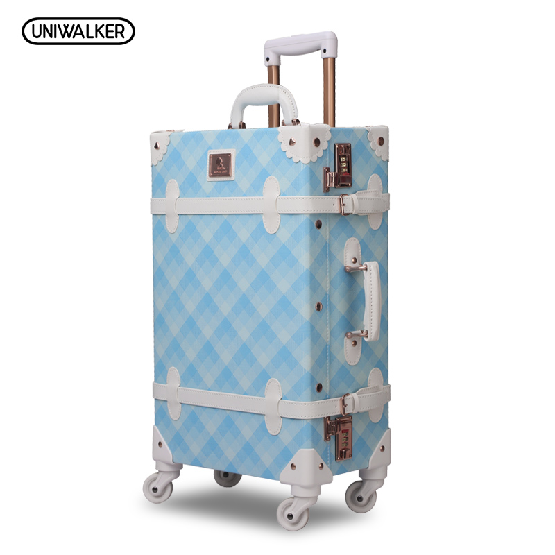 UNIWALKER 20 - 26 Spinner Wheels Retro Light Blue Pu Leather Suitcase Women Trunk Vintage Luggages Rolling Luggage for Girls vintage suitcase 20 26 pu leather travel suitcase scratch resistant rolling luggage bags suitcase with tsa lock