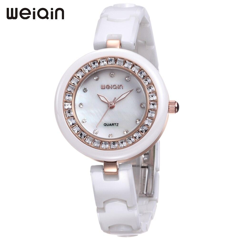 WEIQIN Ladies Watches Womens Luxury Brand Waterproof Quartz Ceramic Bracelet Watch Women Rhinestone Gold Wristwatch reloj mujer [sa] new original authentic spot sick sensors im18 08bns zc1 2pcs lot