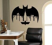 Comics Night City Bat Superhero Wall Decal Gotham Interior Removable Vinyl Stickers Home Decor Boys Rooms SYY750